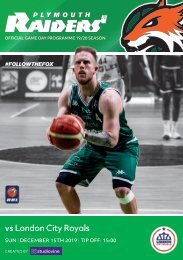 Plymouth Raiders vs London City Royals - Match Programme - 11-12-2019