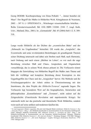 """Dr. Georg Doerr -- Kurzbesprechung von Elena Polledri: """" ... immer bestehet ein Maas."""" -- Der Begriff des Maßes in Hölderlins Werk. Königshausen & Neumann: Würzburg 2002."""