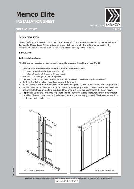 632 Elite Installation Sheet Memco