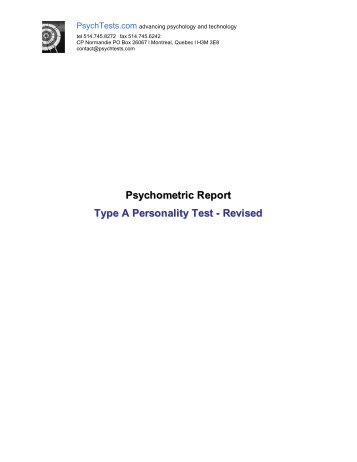Psychometric Report Type A Personality Test - Revised