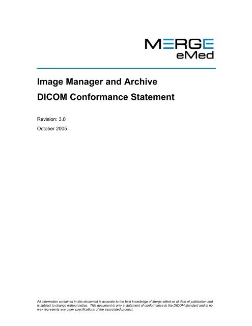 Image Manager and Archive DICOM Conformance Statement