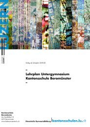 Kantonsschule Beromünster, Lehrplan Untergymnasium, gültig ab Schuljahr 2019/20