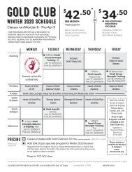 Dovercourt Gold Club Winter 2020 schedule