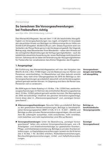 Höchstbetrag Vorsorgeaufwendungen Berechnen : freiberufler werden bei finanzierung benachteiligt ~ Themetempest.com Abrechnung