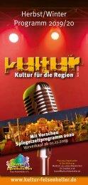 Felsenkeller Kulturprogramm Herbst/Winter 2019/2020