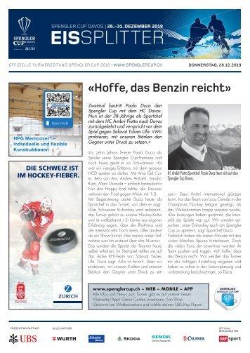 EISSplitter Nr. 1 - Spengler Cup-Tageszeitung vom 26.12.2019