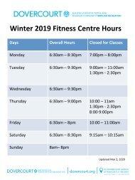 Dovercourt Winter 2020 Fitness Centre Hours