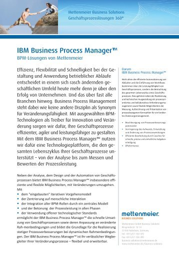 IBM Business Process Manager™ - Mettenmeier GmbH