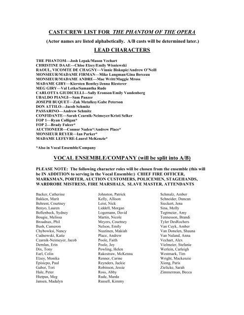 Cast/crew list for the phantom of the - Appleton North High School
