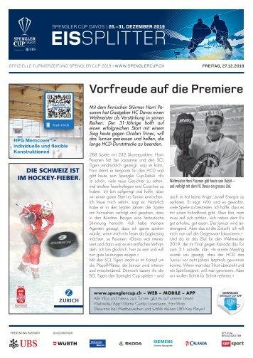 EISSplitter Nr. 2 - Spengler Cup-Tageszeitung vom 27.12.2019