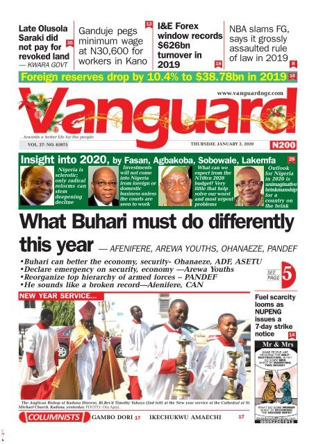 02012020 - What Buhari must do differently this year — AFENIFERE, AREWA YOUTHS, OHANAEZE, PANDEF