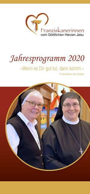 Jahresprogramm 2020 der Franziskanerinnen vom Göttlichen Herzen Jesu