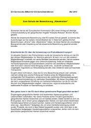 EU - Info Schutz Bezeichnung Käsekrainer