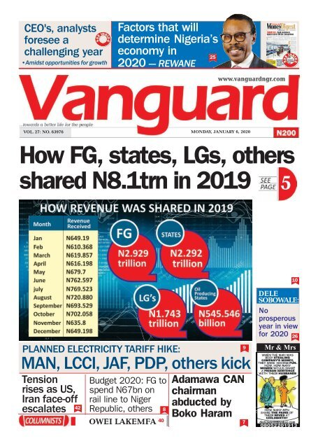 06012020 - How FG, states, LGs, others shared N8.1trn in 2019