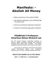 Abolish ALL money / cash /credit = SATAN!  Abolish Lucifer = PLASTIC / artifice!  Abolish the BEAST 666 = Be'Elzebabl = ALL MACHINES NB tranSiStorS 1948-2020!
