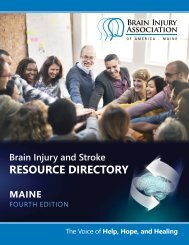 Maine Brain Injury and Stroke Resource Directory: 4th Edition