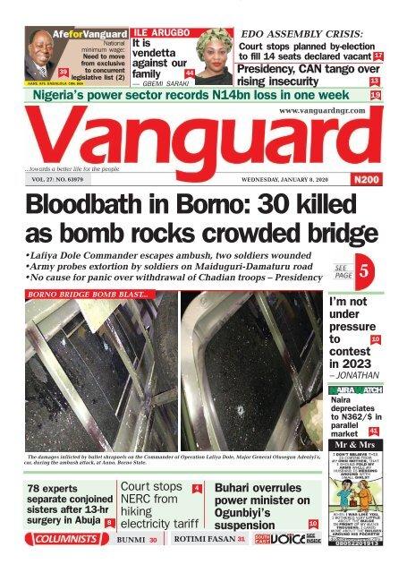 08012020 - Bloodbath in Borno: 30 killed as bomb rocks crowded bridge