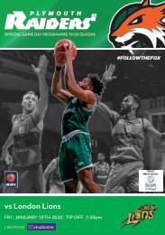 Plymouth Raiders vs London Lions - Match Programme - 10-01-2020