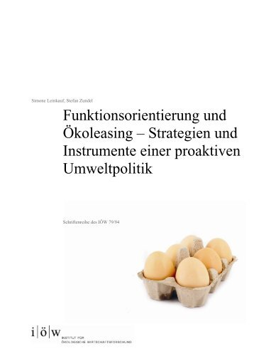 Funktionsorientierung und Ökoleasing - Institut für ökologische ...