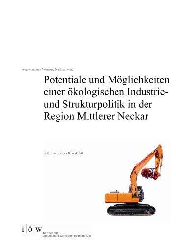 und Strukturpolitik in der Region Mittlerer Neckar - Institut für ...