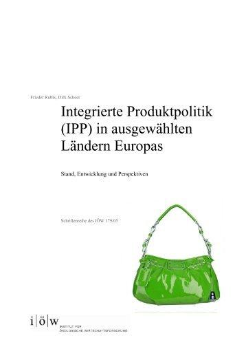 Integrierte Produktpolitik (IPP) - Institut für ökologische ...