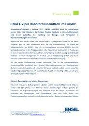 ENGEL viper Roboter tausendfach im Einsatz - Engel Austria