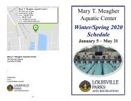 Mary T. Meagher Aquatic 2020 Winter/Spring Schedule