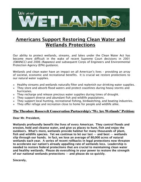 Americans Support Restoring Clean Water And Wetlands Protections