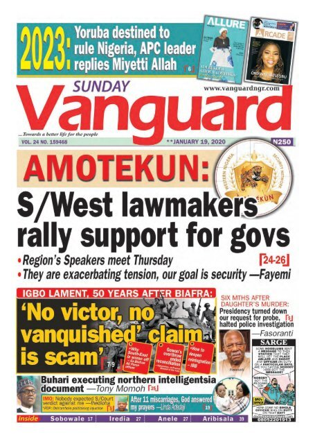 19012020 - AMOTEKUN: S/West lawmakers rally support for govs