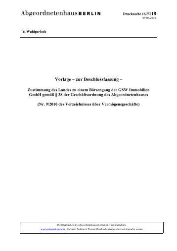 Vorlage – zur Beschlussfassung - Abgeordnetenhaus von Berlin