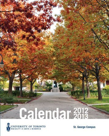 Calendar PDF -- as at publication date - the Faculty of Arts ...