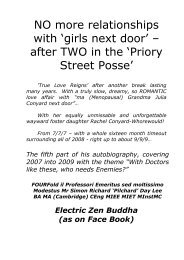 NO more relationships with 'girls next door'!; - after TWO in the 'Priory Street Posse'!