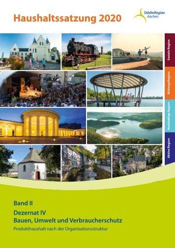 Haushalt der StädteRegion Aachen 2020 -  Dezernat IV - Bauen, Umwelt und Verbraucherschutz