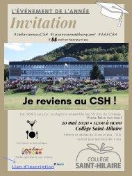 Invitation Je reviens au CSH - 30 mai 2020