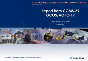 From CGMS-39 Working Group II: Satellite Products Topic - WMO