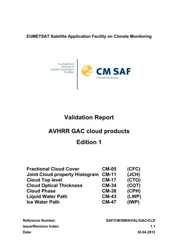 Validation Report AVHRR GAC cloud products Edition 1 - CM SAF