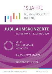 Jubiläumskonzerte 15 Jahre Musikwerkstatt Jugend