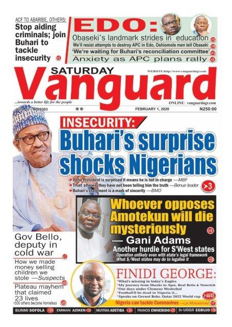 01022020 - INSECURITY : Buhari's Surprise shocks Nigerians