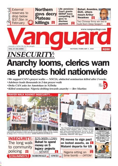 03022020 - INSECURITY: Anarchy looms, clerics warn as protests hold nationwide