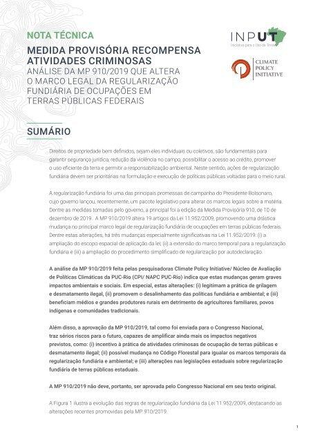 Medida provisória recompensa atividades criminosas: Análise da MP 910/2019 que altera o marco legal da regularização fundiária de ocupações em terras públicas federais