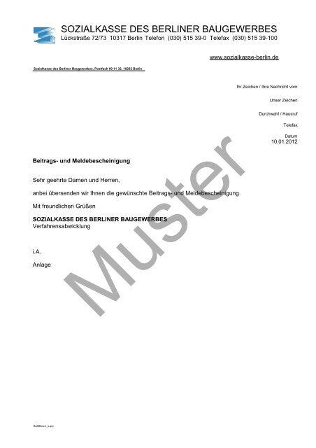 Beitrags Und Meldebescheinigung Sozialkasse Des Berliner