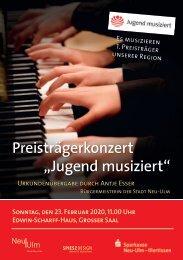 """Preisträgerkonzert """"Jugend Musiziert 2020"""" Neu-Ulm"""