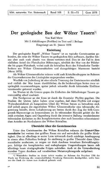 Der geologische Bau der Wölzer Tauern1)