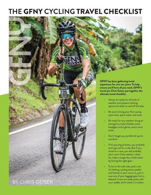 The GFNY Cycling Travel Checklist