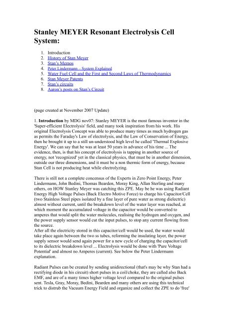 Stanley MEYER Resonant Electrolysis Cell System - Edible Planet