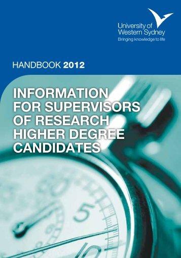 Supervisors Handbook - University of Western Sydney