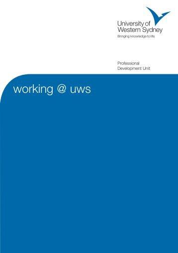 Working @ uws A5 - UWS Careers - University of Western Sydney