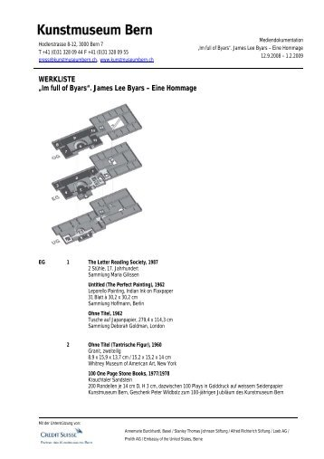 Werkliste James Lee Byars (pdf) - Kunstmuseum Bern