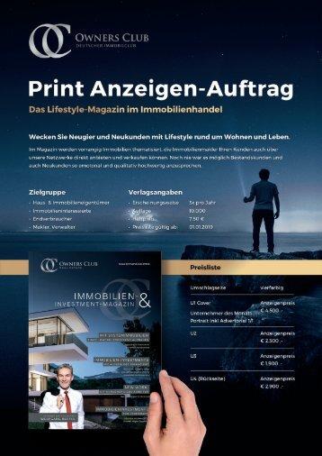 OwnersClub Magazin - Anzeigen Auftrag