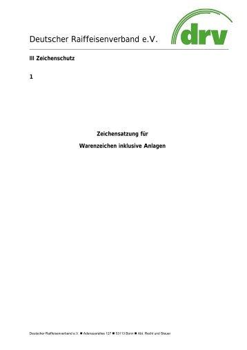 Zeichensatzungen inklusive Anlagen - Der DRV